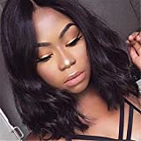 Brazilian Virgin Human Hair Lace Front Wigs Body Wave Glueless Short Bob Full Lace Wig Middle Part 130 Density With Baby Hair For Black Women Short wave Bob Wigs (14inch, lace front wig)