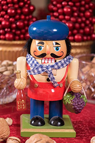 Traditional Wooden Chubby Italian Nutcracker by Clever Creations | Wine Bottle and Basket of Grapes | Festive Christmas Decor | 7'' Tall Perfect for Shelves and Tables by Clever Creations (Image #5)