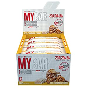 Pro Supps Mybar Oven Baked Only 6G Sugar Healthy On-The-Go Snack Protein Bar, New Iced Cinnamon, 12 Count