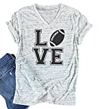 Love Football Funny T-Shirt Women's V-Neck Casual Short Sleeve Tee Tops Blouse Size M (Light Grey)