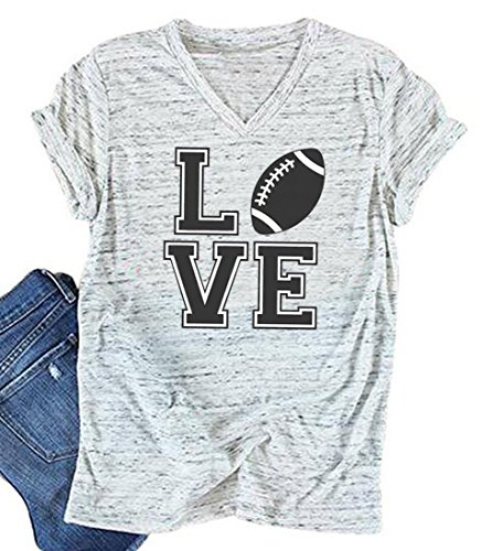 Women Love Letter Graphic Print T Shirt Summer Casual Football V Neck Tees Tops Size M - Football Tee Womens Shirt
