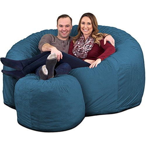 ULTIMATE SACK 6000 Bean Bag Chair w/Footstool: Giant Foam-Filled Furniture - Machine Washable Covers, Double Stitched Seams, Durable Inner Liner, and 100% Virgin Foam Footstool Incl. (Cloud, Suede)