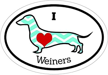 Wiener Dog Bumper Sticker Perfect Dachshund Dog Owner Gift Teal I Love Wieners Dachshund Vinyl Decal