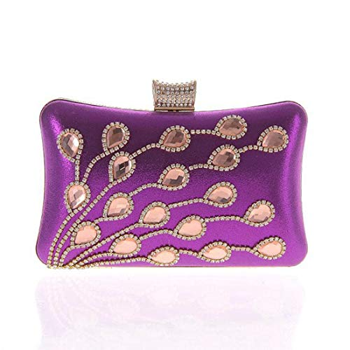 Borsa tempestato moda vetro Bag europei Viola in Fashion Fly diamanti motivi con fiocchi Borsa con diamanti Dinner argento in di con di w8PqR
