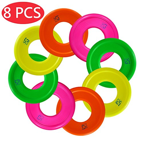 Macro Giant 9 Inch Colorful Soft Foam Frisbee Ring, Flying Disc, Set of 8, Safe to Catch, NEON Color, Ring Toss Game, Outdoor Camp Toys, Beach Pool, School Playground, Birthday Gift