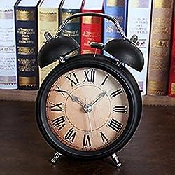 Black 3'' Two Bells Alarm Clocks Retro Wood Color Rivet Non-ticking Silent Quartz Vintage bedside Twin Bell Table Clock Desk Clocks Desktop Clock with Nightlight and Loud Alarm by Usany