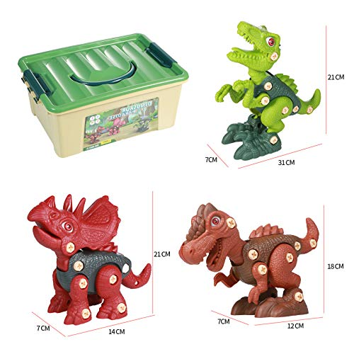 INSHERE Take Apart Dinosaur Toys for Kids - STEM Learning Building Toy Set with Electric Drill Construction Engineering Play Kit for Boys Girls Age 3 -8 Year Old