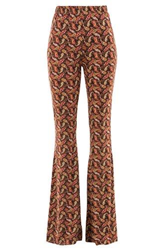 Fashionomics Womens Boho Printed Bell Bottom Stretchy Long Pants (M, Paisley Rust) -