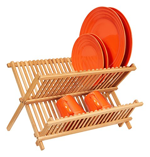 Home Intuition Collapsible Bamboo Dish Drying Rack