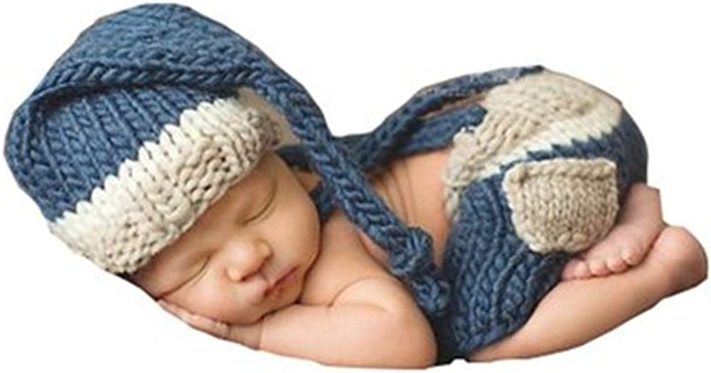 Pinbo Baby Photo Photgraphy Prop Crochet Knitted Costume Stripe Hat Shorts Overalls 51wy2zvkwWL