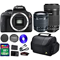 Deluxe Kit For SL1DSLR Camera +18-55mm IS STM Lens +EF-S 55-250mm f/4-5.6 IS STM Lens + 32 GB SDHC Memory Card + Front Lens Cap + Rear Lens Cap + Strap + Camera Case