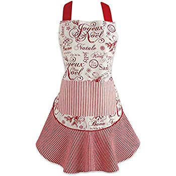 DII 5035 Holiday Kitchen Apron, One Size, Vintage Christmas