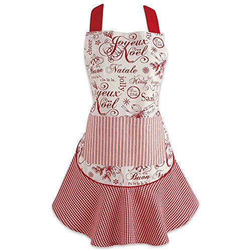 DII Cotton Chistmas Kitchen Apron with Pocket and Extra Long Ties, 28.5 x 26