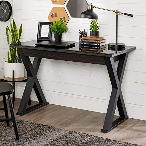 Walker Edison Furniture Modern Farmhouse X Wood Laptop Computer Writing Desk Home Office Workstation Small