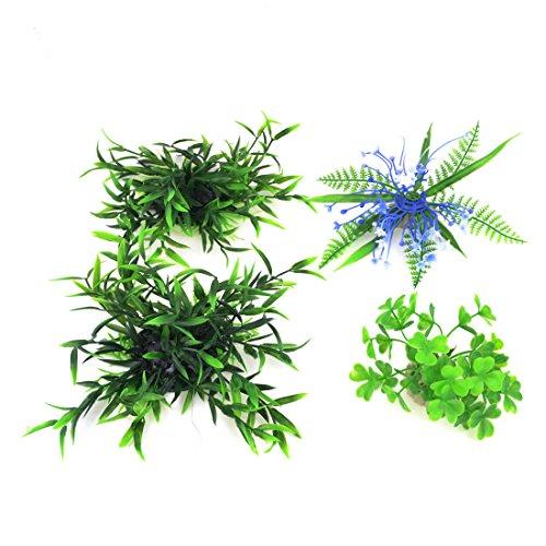 UPC 702105350812, Fish Tank Artificial Water Grass Ornament 7cm Height 4 PCS Blue Green