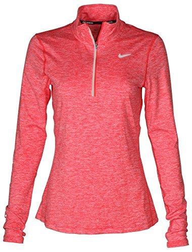 NIKE Women's Dri-Fit Element 1/2 Zip Running Shirt-Bright Crimson-Small