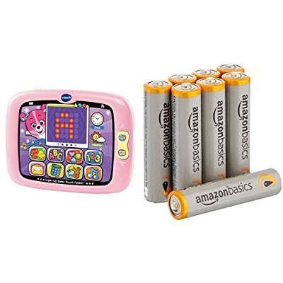 VTech Light-Up Baby Touch Tablet, Pink with Basics AAA Batteries Bundle: Toys & Games