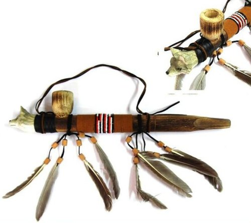 Wooden Wolf Peace Pipe with Beaded Feathers and Leather Wrap