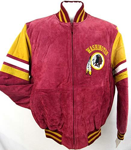 G-III Sports Mens Washington Redskins Embroidered Suede/Soft Leather Full Zip Jacket, Size Medium
