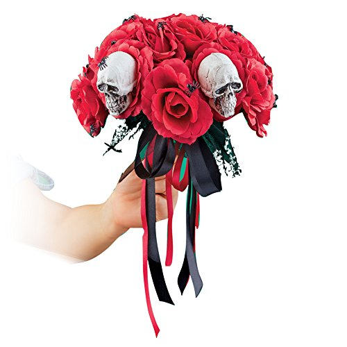 Collections Etc Creepy Red Roses and Spiders Halloween Bouquet for Scary Bride Costume or Home Decoration, -