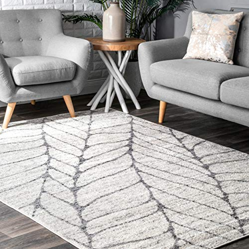 Leaves Transitional Rug - nuLOOM Leaves Abstract Area Rug, 5' x 8', Light Grey