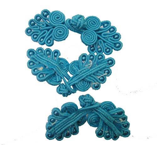 Lyracces 10pair Handmade Sewing Fasteners Chinese Closure Knot Cheongsam Frog Buttons (Sea Blue)