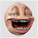 Cotton Microfiber Hand Towel,Humor Decor,Poker Face Guy Meme Laughing Mock Person Smug Stupid Odd Post Forum Graphic,Peach Pearl,for Kids, Teens, and Adults,One Side Printing