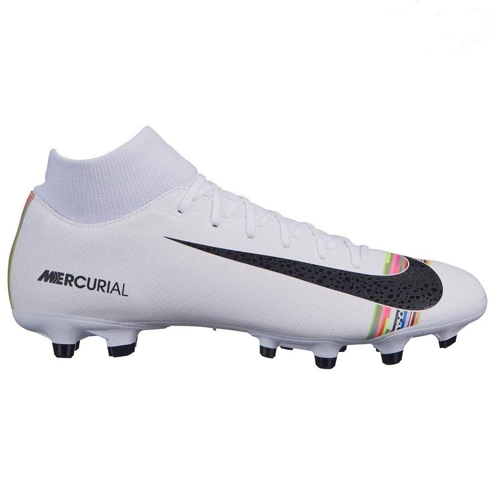 4524b6fae Nike Men s Mercurial Superfly 6 CR7 Soccer Cleat White Black Pure Platinum  Size 9.5
