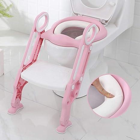 Sinbide Asiento para Inodoro con Pasos, Aseo Escalera Asiento Escalera del tocador de niños Asiento para WC con Escalón Plegable Orinal Formación, Diseño Plegable y de Altura Ajustable (Rosa-Blanco): Amazon.es: Bebé