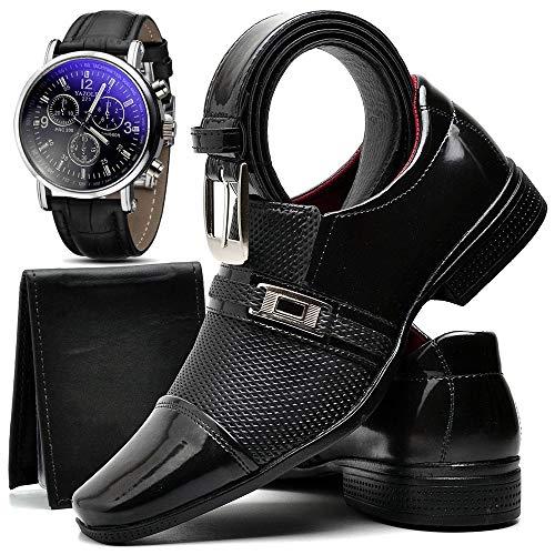 Kit Sapato Social Verniz Com Relógio Cinto Carteira Masculino ZARU 814DB Tamanho:41;cor:Preto;gênero:Masculino