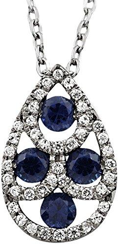 Tous mes bijoux - Collier avec pendentif - Or blanc 9 cts - Goutte - Diamant 0.1 cts - 42 cm - COFI01008