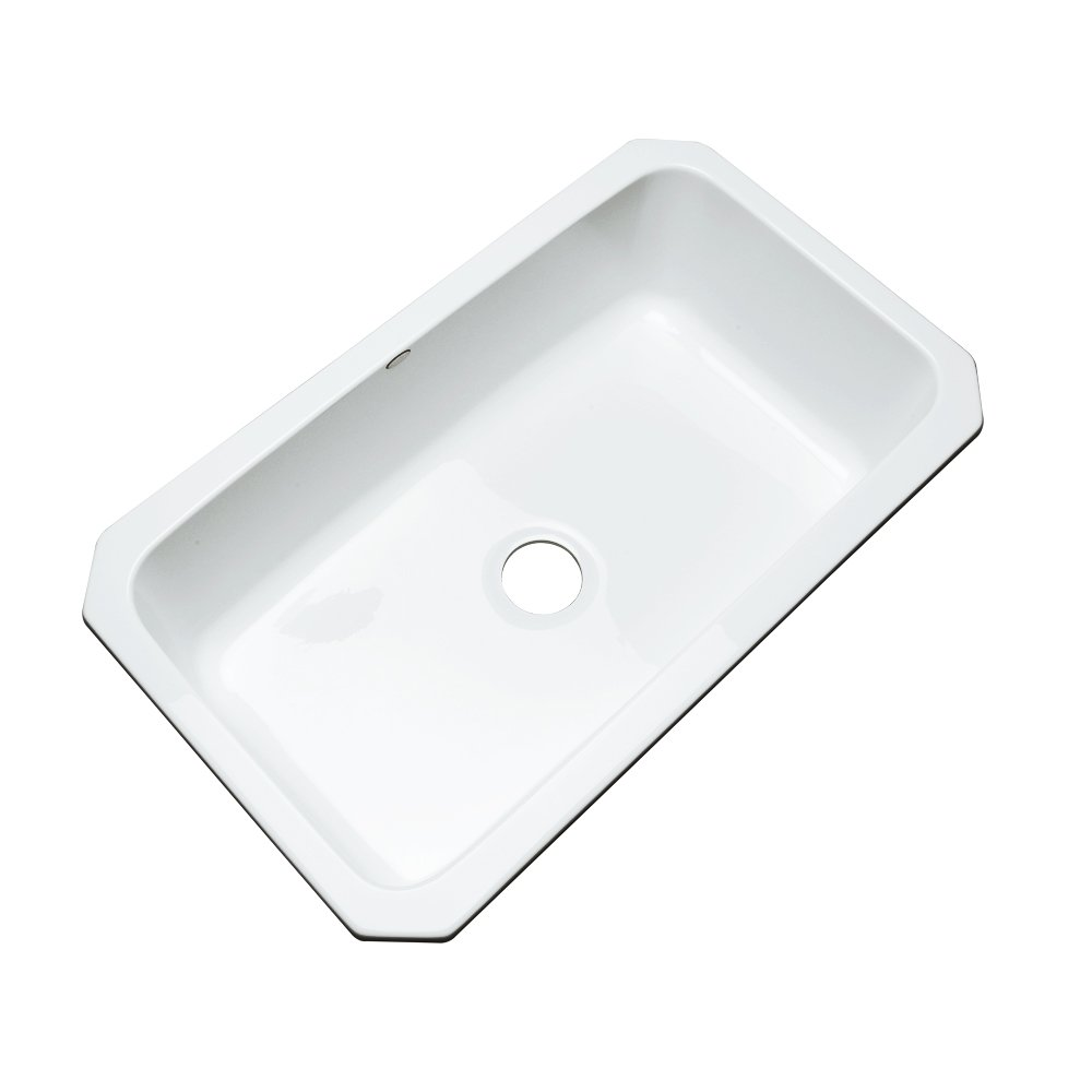 Dekor Sinks 58000UM Brookwood Single Bowl Undermount Cast Acrylic Kitchen Sink, 33'', White