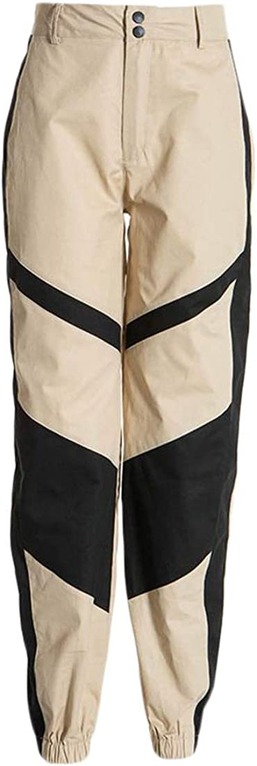 CMCYY Womens Cargo Contrast Color High Waist Trousers Activewear Joggers Pants