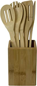 Home Basics 5-Piece Bamboo Utensils with Holder, Slotted Spatula, Angled Spoon, Serving Spork, Kitchen Countertop, Beige, Natural