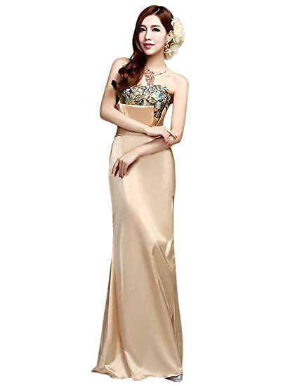 Drasawee Womens Long Satin Strapless Evening Formal Dress Sexy Slim Wedding Party Prom Gowns Gold UK4