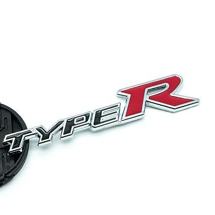 Black Metal Chrome Type R Racing Emblem 3D Door Fender Badge For Civic EK EG