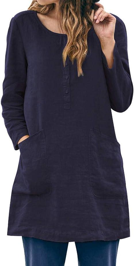 routinfly-Top da donna Camisa Mujer Elegante algodón y Lino, Casual Loose Patchwork Pocket Button Diario Soild Blusa Manga Larga Tops Camisas, Mujer, Marina Militare, L: Amazon.es: Deportes y aire libre