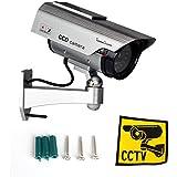 IHOMEGUARD Solar Dummy Surveillance Camera Fake Outdoor Indoor Bullet Camera for CCTV Security System