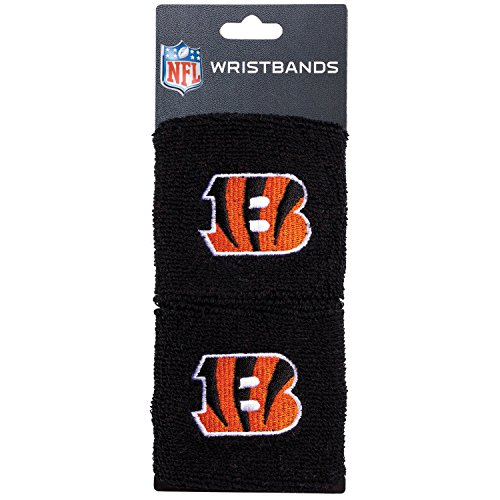 NFL Cincinnati Bengals Franklin Sports Cincinnati Bengals Embroidered Wristbandsnfl Embroidered Wristbands, Black, One Size (Bengals Nfl Uniform)