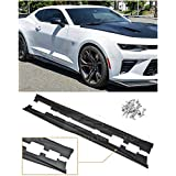 Replacement For 2016-2018 Chevrolet Camaro SS & RS | ZL1 Style Side Skirts Rocker Panel Extension Pair (ABS Plastic - Primer Black)
