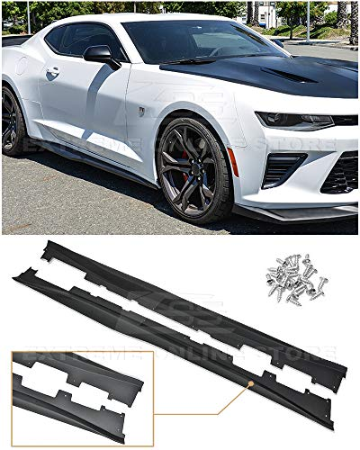 (Replacement For 2016-2018 Chevrolet Camaro SS & RS | ZL1 Style Side Skirts Rocker Panel Extension Pair (ABS Plastic - Primer Black))