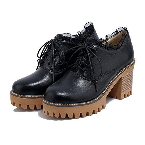shoes Con toe Donne Lacci Delle Nero Pompe Solidi Round Alto talloni Allhqfashion vOTw1pq