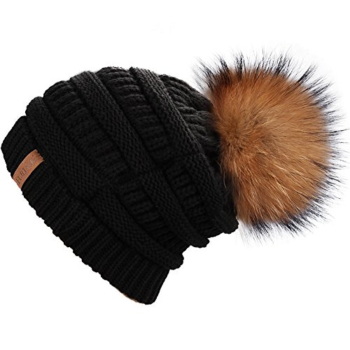 Real Pom Fur Pom (FURTALK Women's Thick Slouchy Real Fox Raccoon Fur Pom Pom Winter Knit Beanie Bobble Hat Caps (Black+Raccoon Pom))