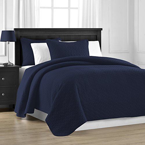 Comfy Bedding Prewashed Durable Jigsaw Quilted 3-Piece Bedspread Coverlet Set (Full/Queen, Navy Blue) - Twin Mart Beds Wal