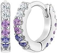 925 Sterling Silver 10mm CZ Purple Huggie Hoop Toddler Girl Earrings for Kids