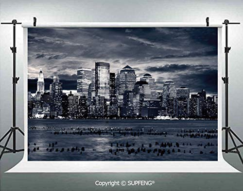 Photography Backdrops Dramatic View of New York Skyline from Jersey Side Clouds Buildings 3D Backdrops for Photography Backdrop Photo Background Studio Prop