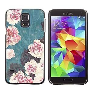 TopCaseStore / la caja del caucho duro de la cubierta de protección de la piel - Vignette Begonia Pink Flowers - Samsung Galaxy S5 SM-G900