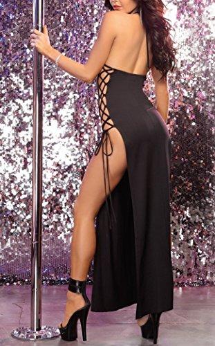 Dress Fessura alta Party Donne Nero Notte Split Cocktail Casuale Shangrui Club Camicia Da xq1wA0y
