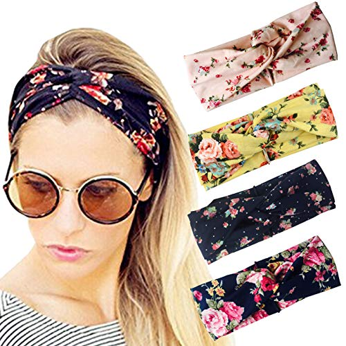 DRESHOW Cross Headbands Vintage Elastic Head Wrap Stretchy Moisture Hairband Twisted Cute Hair Accessories (4 Pack Turban Cloth: Navy, Yellow, Pink, Black)