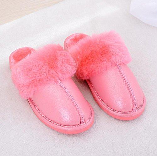 Mhgao da donna casual autunno inverno peluche cotone pantofole calde pantofole in similpelle, colore rosso, 37